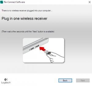 How do I connect the logitech g602 receiver back